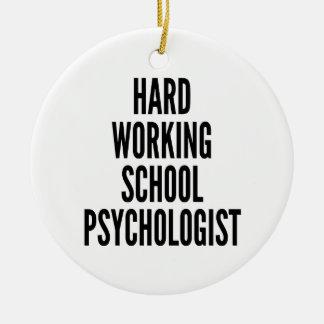 Hard Working School Psychologist Round Ceramic Decoration