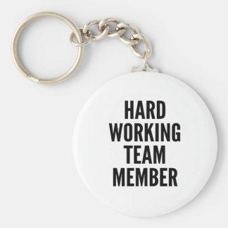 Hard Working Team Member Basic Round Button Key Ring