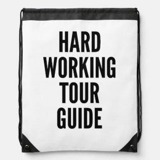 Hard Working Tour Guide Drawstring Bag