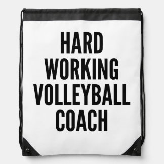 Hard Working Volleyball Coach Drawstring Bag