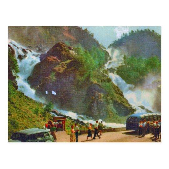 Hardanger, Latefoss waterfall, Norway, Vintage Postcard