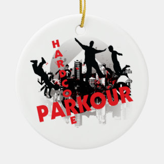 Hardcore Parkour Grunge City Christmas Ornament