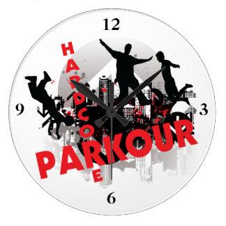 Hardcore Parkour Grunge City Large Clock