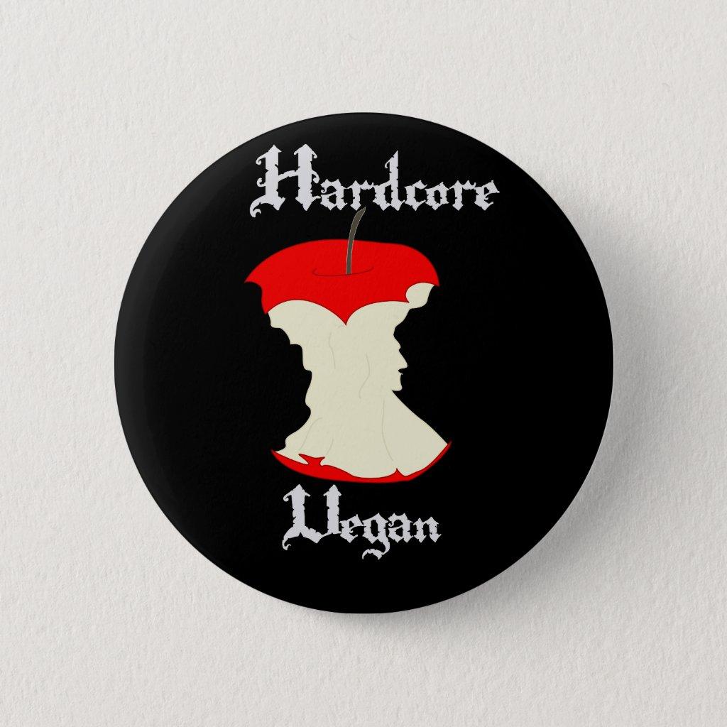 Hardcore Vegan Apple Design 6 Cm Round Badge