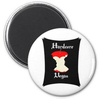 Hardcore Vegan Apple Design 6 Cm Round Magnet