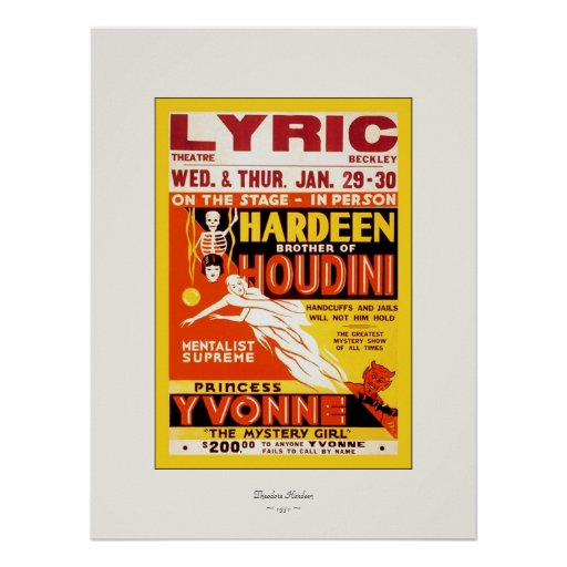 Hardeen ~ Vintage Magician Poster ~ 1931