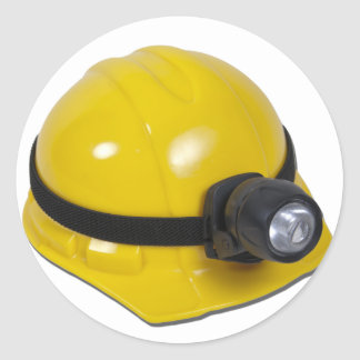HardHatWithLamp102811 Classic Round Sticker