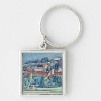 Hardricourt Village and Castle Silver-Colored Square Key Ring