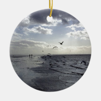 Hardy Walkers & Birds at the water's edge Round Ceramic Decoration