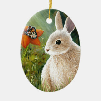 Hare 55 rabbit butterfly ceramic oval decoration