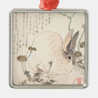 Hare and Dandelion, Kubo Shunman, Japanese art Christmas Ornament