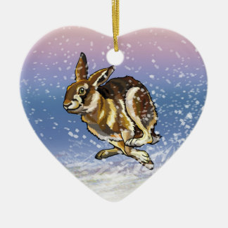 hare and reindeer ceramic heart decoration