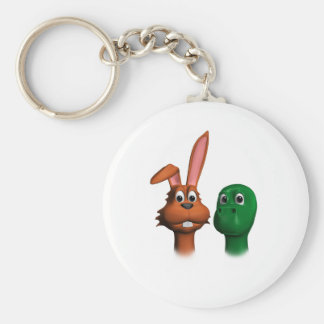 Hare and Tortoise01 Basic Round Button Key Ring