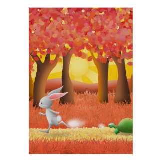 Hare and tortoise 1 - poster print