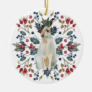 Hare christmas tree ornament holly berries