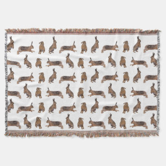 Hare Frenzy Throw Blanket (choose colour)