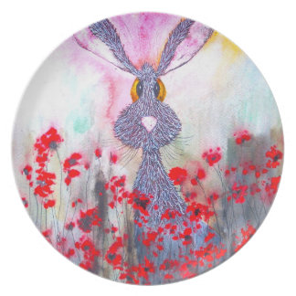 HARE IN POPPIES h1683 Plate