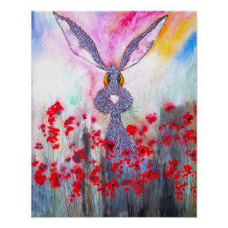 HARE IN POPPIES h1683 Poster
