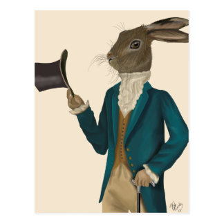 Hare In Turquoise Coat 2 Postcard