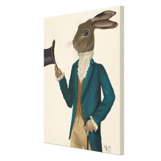 Hare In Turquoise Coat Canvas Print