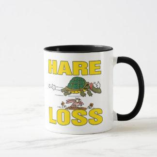 hare loss funny hair loss fable pun cartoon mug