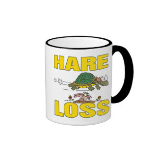 hare loss funny hair loss fable pun cartoon ringer mug