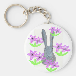 Hare peeping through flowers. basic round button key ring