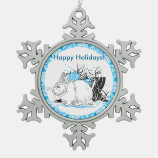 Hare Pewter Snowflake Decoration