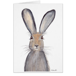 Hare rabbit watercolor greeting card