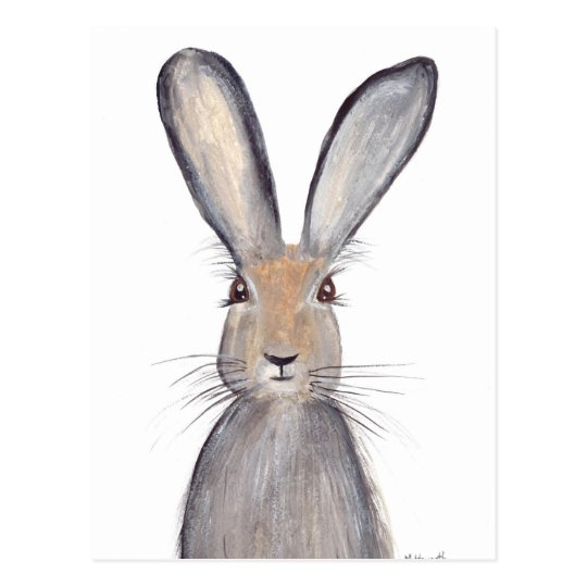 Hare rabbit watercolor postcard