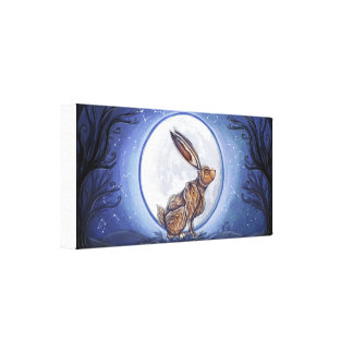Hare Under The Moon Gallery Wrap Canvas
