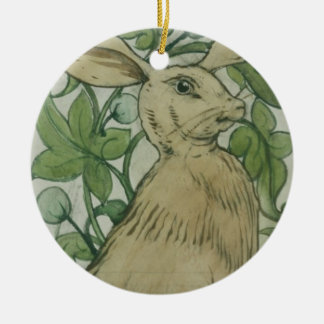 Hare (w/c on paper) christmas ornament