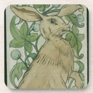 Hare (w/c on paper) coaster