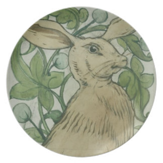 Hare (w/c on paper) plate