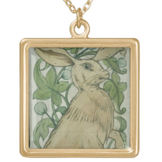 Hare (w/c on paper) square pendant necklace