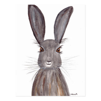 Hare watercolor rabbit art postcard