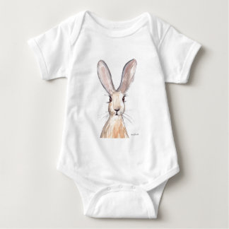Hare watercolour painting baby bodysuit