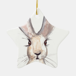 Hare watercolour painting ceramic star decoration