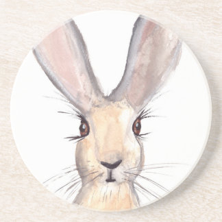 Hare watercolour painting coaster