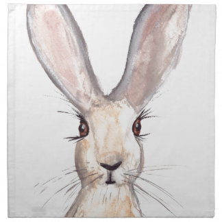Hare watercolour painting napkin