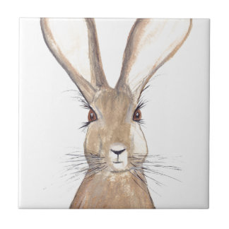Hare watercolour painting small square tile