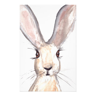 Hare watercolour painting stationery