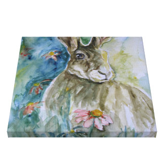 Hare Watercolour Print on Canvas