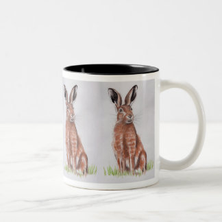 Hare Watercolour Two-Tone Coffee Mug