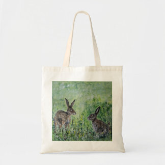Hares in a meadow shopping bag
