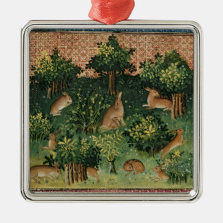 Hares in a Wood Christmas Ornament