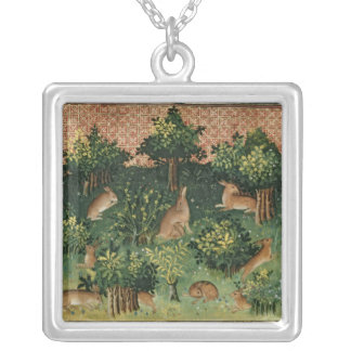 Hares in a Wood Silver Plated Necklace