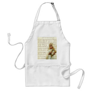 Hark here the angle sing on vintage music sheet standard apron