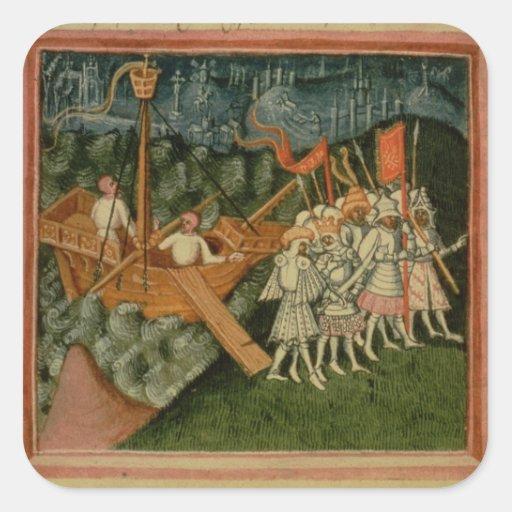 Harl 2278 f.98v The Arrival of King Sweyn and Dani Sticker