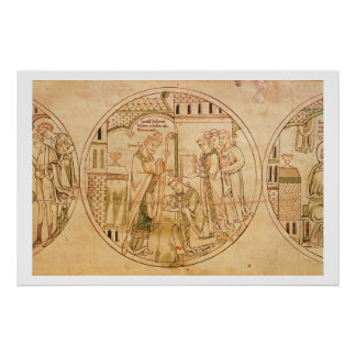Harl. Roll Y.6 roundel 11 St. Guthlac is Ordained Poster